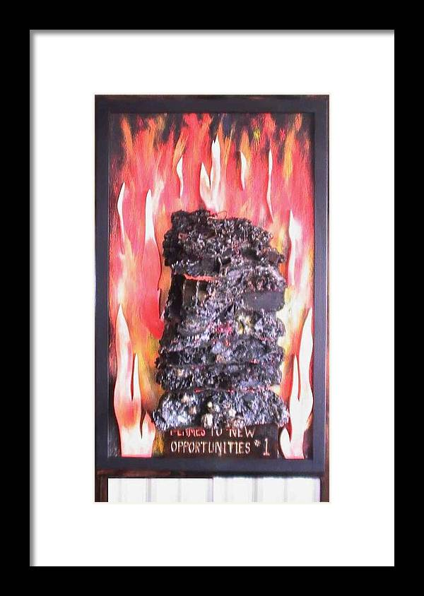 Flames Framed Print featuring the painting Flames to New Opportunities #1 by Tanna Lee M Wells