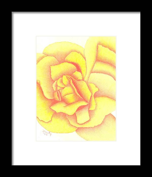 Rose Framed Print featuring the drawing Flaming Yellow Rose by Dusty Reed