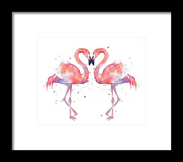 Watercolor Framed Print featuring the painting Flamingo Love Watercolor by Olga Shvartsur