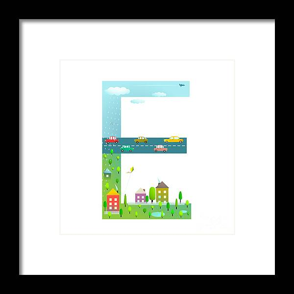 Symbol Framed Print featuring the photograph Flat Style Alphabet Letter E For Kids by Popmarleo
