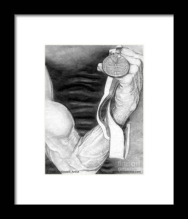 Muscle Framed Print featuring the drawing Flex @ Ariesartist.com by AriesArtist Com