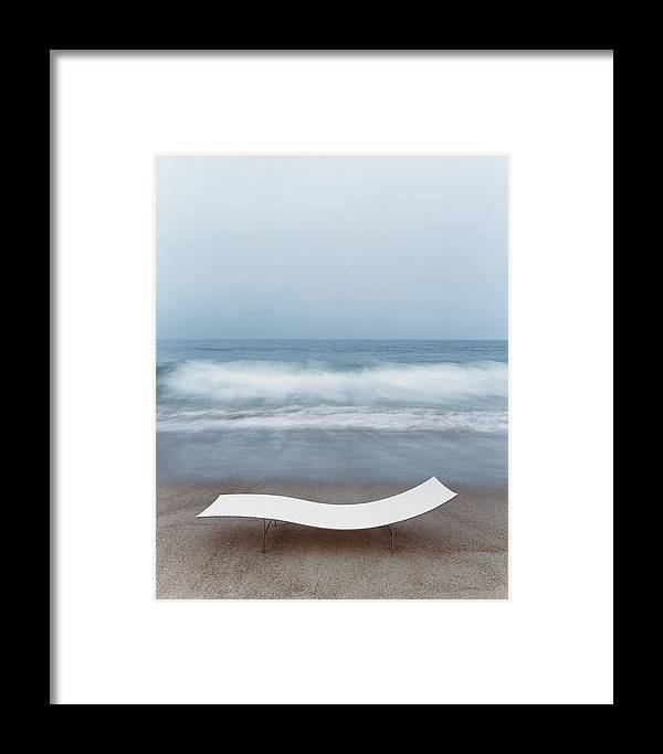 Nobody Framed Print featuring the photograph Flexy Batyline Mesh Curve Chaise On Malibu Beach by Simon Watson