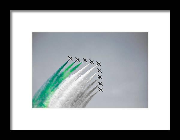 Flight Formation Plane Smoke Sky Selective Color Nine Gabi Revenbel Framed Print featuring the photograph Flight Formation by Gabi Revenbel