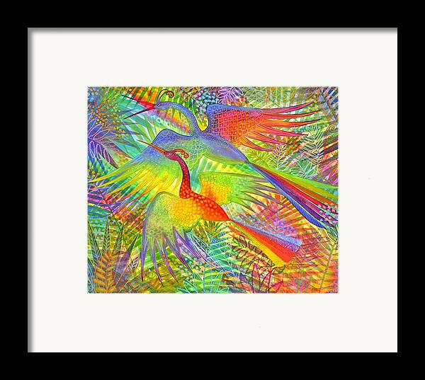 Exotic Birds Rain Forest Rainbow Colours Jungle Tropical Framed Print featuring the painting Flight Of Colour And Bliss by Jennifer Baird