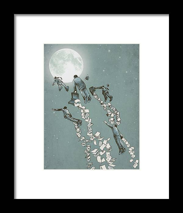 Moon Framed Print featuring the drawing Flight Of The Salary Men by Eric Fan