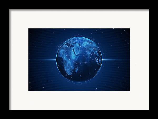 Abstract Framed Print featuring the digital art Flights And Earth by Gianfranco Weiss