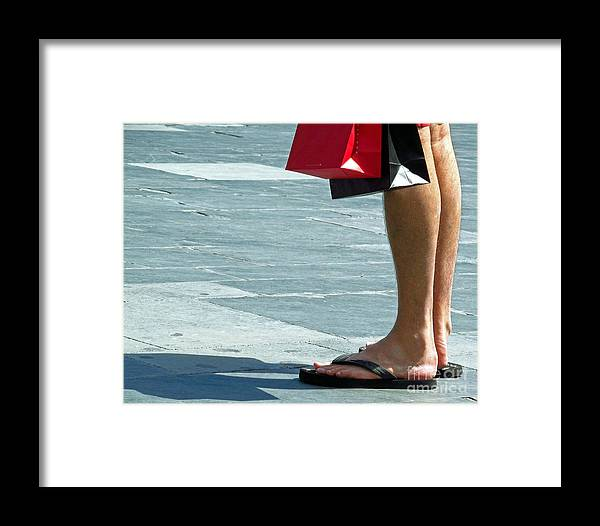 Feet Framed Print featuring the photograph Flip Flops And Shopping Bags by Tina M Wenger