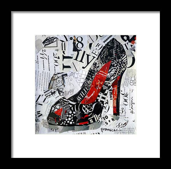 High Heel Framed Print featuring the painting Flirty by Nancy Standlee