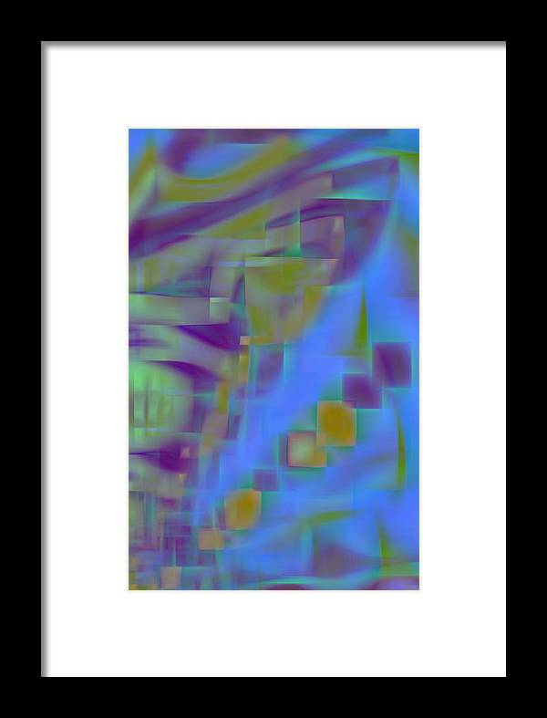 Floating Blocks Framed Print featuring the digital art Floating Blocks by Devalyn Marshall