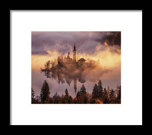 Lake Framed Print featuring the photograph Floating Island by Ales Krivec