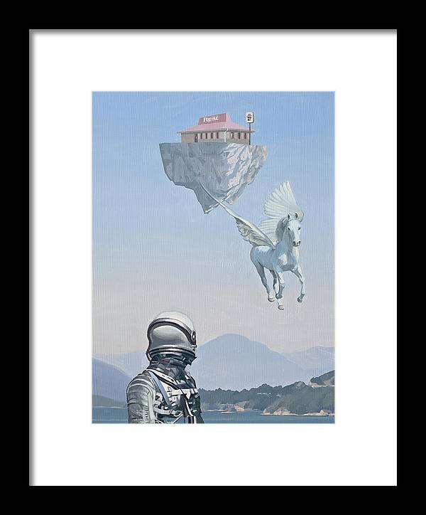 Astronaut Framed Print featuring the painting Floating Island Pizza Hut by Scott Listfield