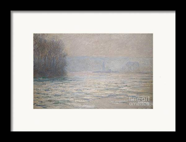 French Framed Print featuring the painting Floods On The Seine Near Bennecourt by Claude Monet