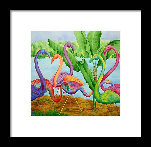 Flamingo Framed Print featuring the painting Floosie Flamingos by Rhonda Leonard