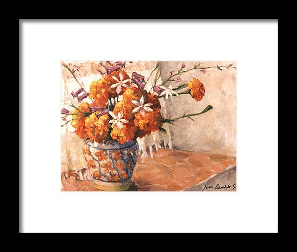Floral Framed Print featuring the painting Floral 9 by Joan Columbus