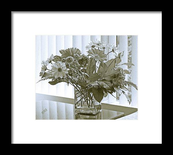 Floral Still Life Framed Print featuring the photograph Floral Arrangement With Blinds Reflection by Ben and Raisa Gertsberg