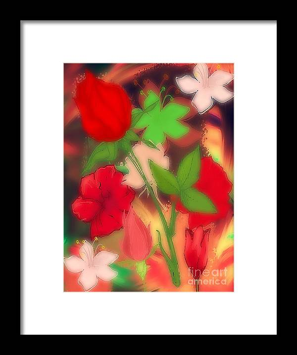 Digital Art Graphic Floral Escapade All Prints Framed Print featuring the digital art Floral Escapade by Gayle Price Thomas