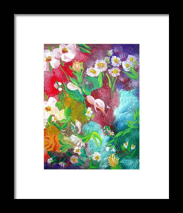 Abstract Framed Print featuring the painting Floral Fantasy by Kathern Welsh