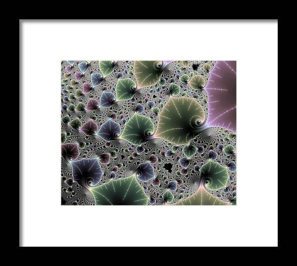 Fractal Framed Print featuring the photograph Floral Fractal Artwork Green Blue Pink Digital Leaves by Matthias Hauser