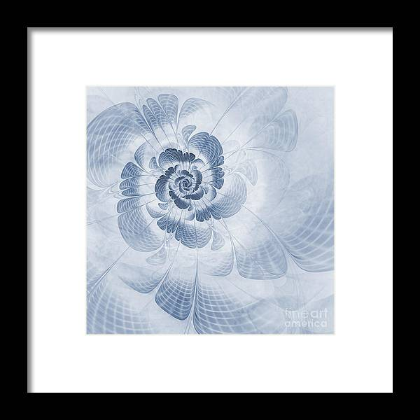 Fractal Flower Framed Print featuring the digital art Floral Impression Cyanotype by John Edwards