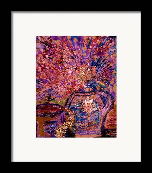 Floral Framed Print featuring the painting Floral With Gold Leaf On Vase by Anne-Elizabeth Whiteway