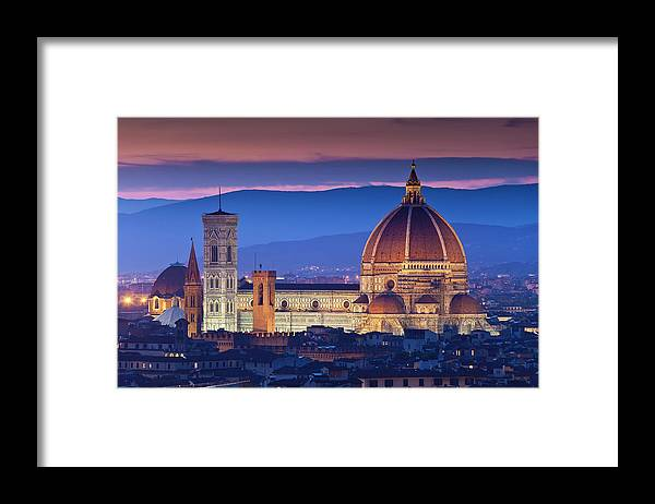 Built Structure Framed Print featuring the photograph Florence Catherdral Duomo And City From by Richard I'anson