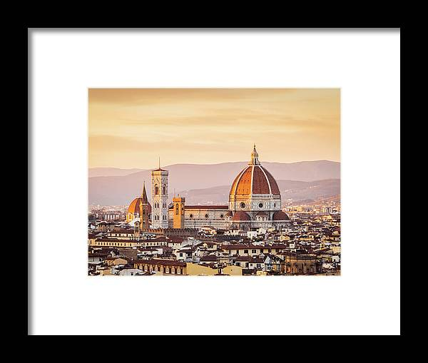 Campanile Framed Print featuring the photograph Florences Cathedral And Skyline At by Filippobacci