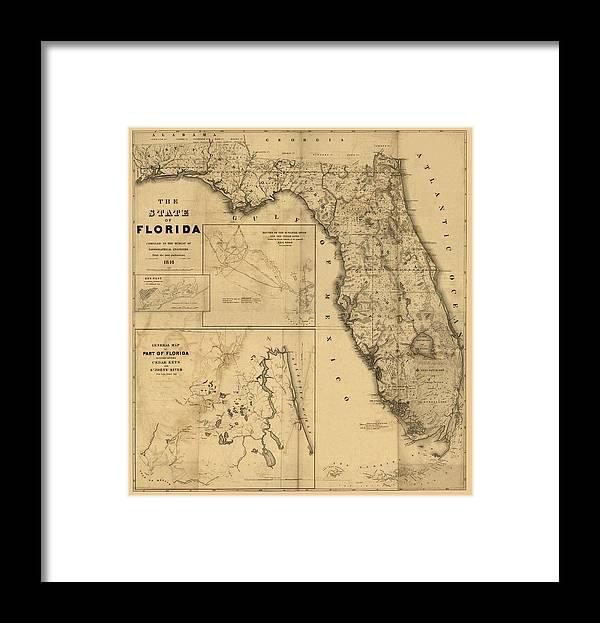 Florida Map Art Vintage Antique Map Of Florida Framed Print By