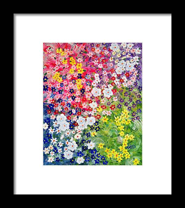 Flower Framed Print featuring the painting Flower Garden by Kathern Welsh