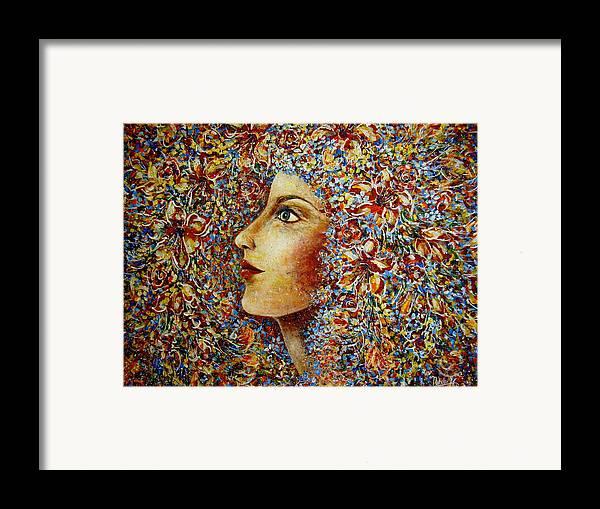Flower Goddess Framed Print featuring the painting Flower Goddess. by Natalie Holland