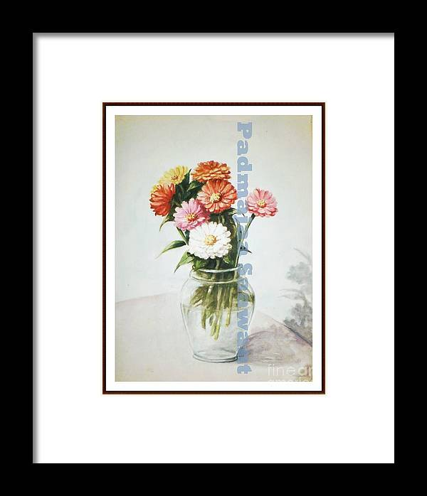 Framed Print featuring the painting Flower Pot by Nalini Sawant
