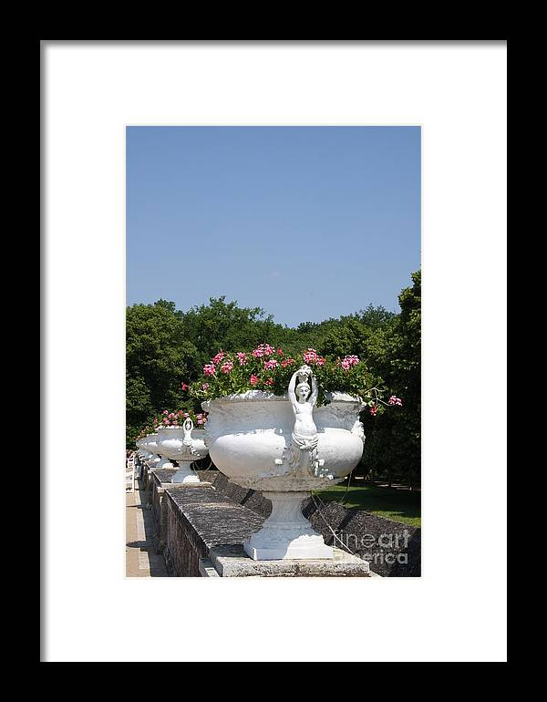 Basin Framed Print featuring the photograph Flowerpots In A Row - Chateau Chenonceau by Christiane Schulze Art And Photography
