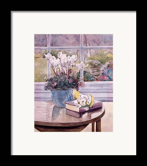 Book Framed Print featuring the photograph Flowers And Book On Table by Julia Rowntree