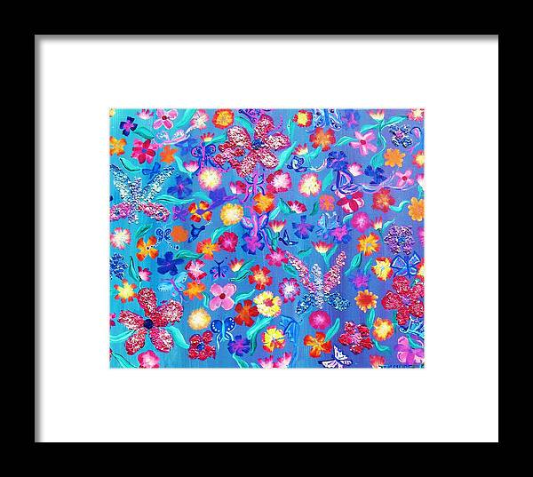 Floral Framed Print featuring the painting Flowers And Butterflies by J Andrel