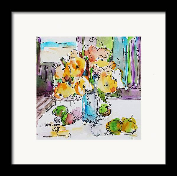 Flowers Framed Print featuring the painting Flowers And Green Apples by Becky Kim