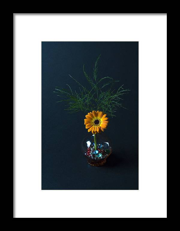 Flowers And Greenery In A Brown Glass Vase Framed Print featuring the photograph Flowers And Greenery 3 by John Hebb