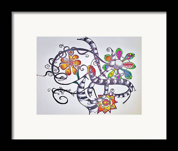 Flowers Framed Print featuring the drawing Flowers And Such by Lori Thompson