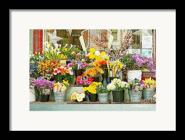 Bi-rite Market In San Francisco Framed Print featuring the painting Flowers At The Bi-rite Market In San Francisco by Artist and Photographer Laura Wrede