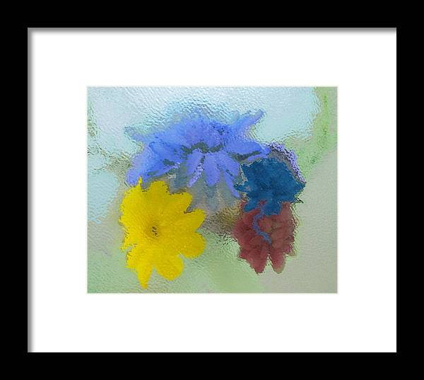 Flowers Framed Print featuring the painting Flowers Behind Glass by Peni Baker