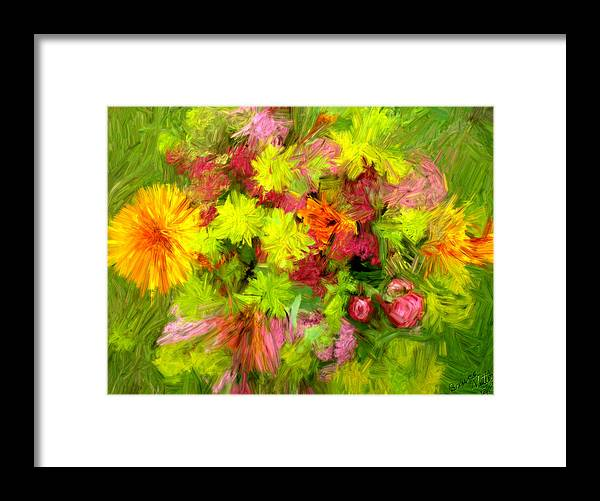 Flowers Framed Print featuring the painting Flowers By The Brush by Bruce Nutting