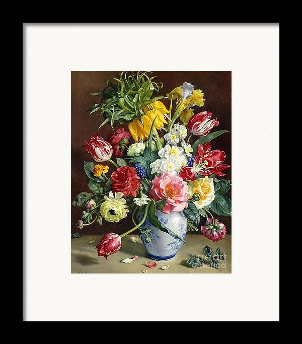 19th Century Painting Framed Print featuring the painting Flowers In A Blue And White Vase by R Klausner