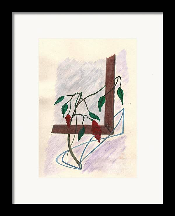 Watercolor Framed Print featuring the painting Flowers In The Window by Robert Meszaros