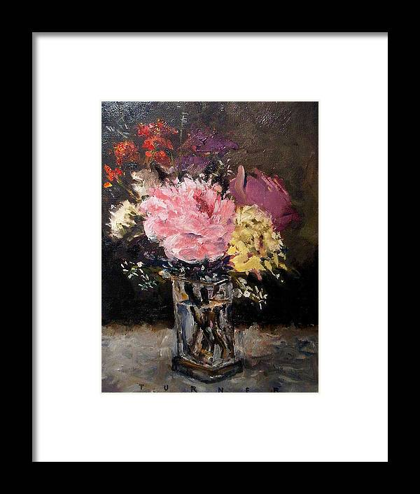 Still Life Framed Print featuring the painting Flowers In Vase by George Turner