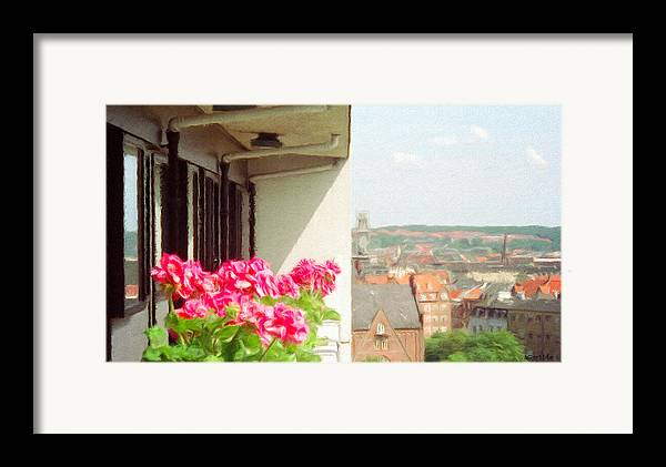 Aarhus Framed Print featuring the painting Flowers On The Balcony by Jeff Kolker