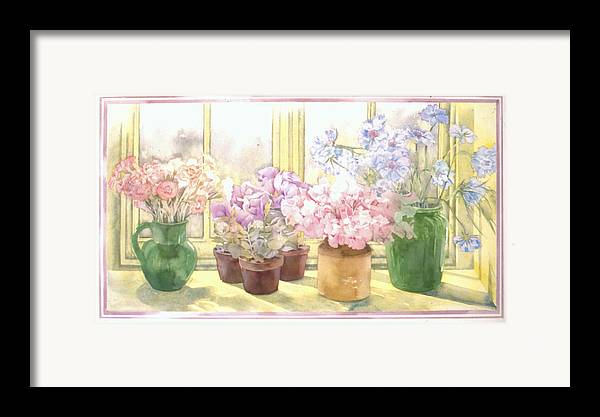 Julia Rowntree Framed Print featuring the photograph Flowers On The Windowsill by Julia Rowntree