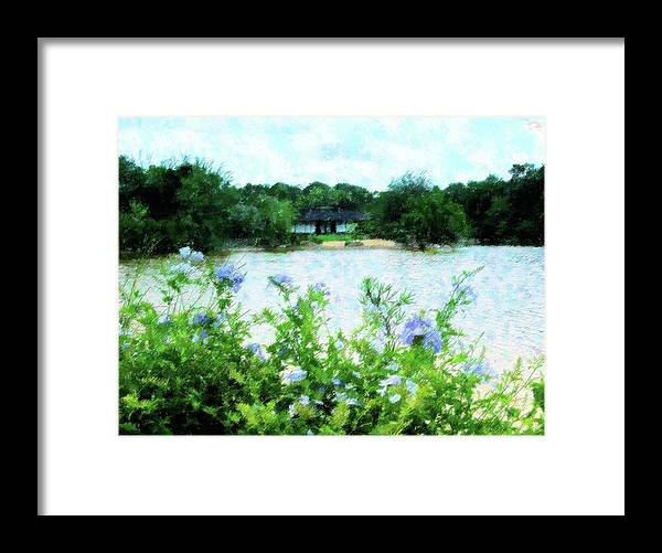 Landscape Framed Print featuring the mixed media Flowers Point Of View by Florene Welebny