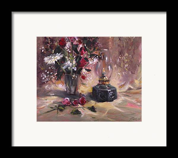 Flowers Framed Print featuring the painting Flowers With Lantern by Nancy Griswold