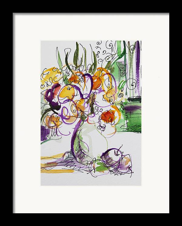 Flowers Framed Print featuring the painting Flowers With Purple Hint by Becky Kim