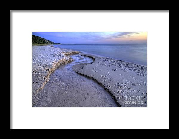 Lake Framed Print featuring the photograph Flowing Into Lake Michigan by Twenty Two North Photography