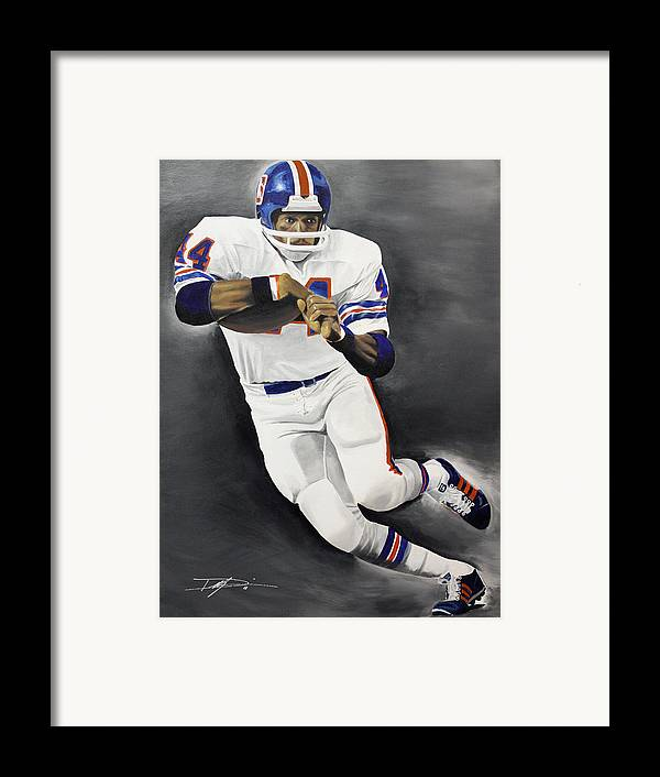 Floyd Little Framed Print featuring the drawing Floyd Little by Don Medina