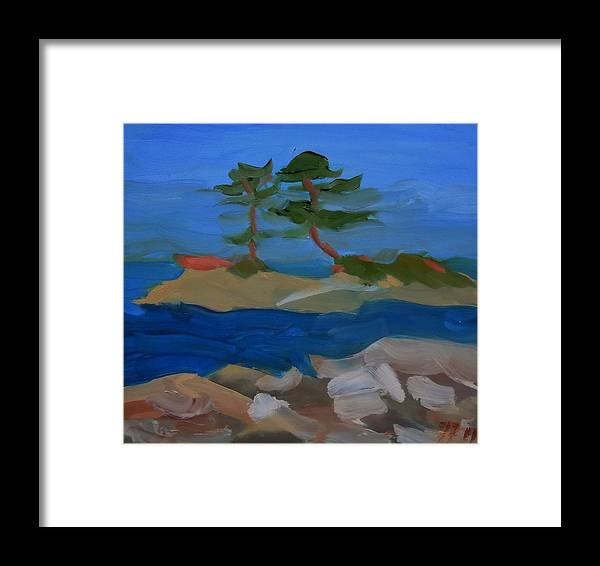 Landscape Framed Print featuring the painting Fly Point Island by Francine Frank